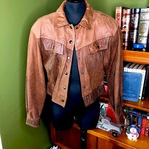 Vintage Alamos Leather Cropped Bomber Jacket